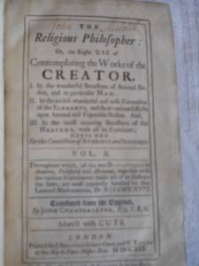 Science Book, 1719, for sale