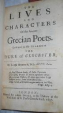 The Lives and Characters of the Greek Poets  Basil Kennet
