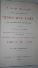 A Priced Catalogue of the Whole Stock of Theological Books, for the Most Part Se
